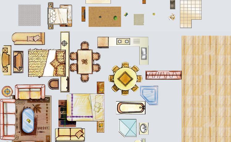 最新室内ps彩平图素材 psd户型图家具素材 彩色平面图案素