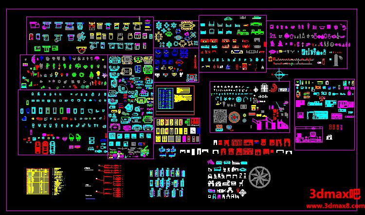 CAD室内设计图块图库大全集,综合图库