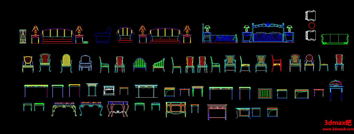 欧式别墅元素图块,别墅