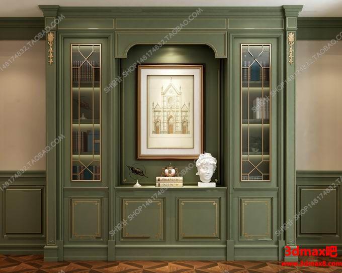 3d书柜模型 美式风格实木书柜组合3d模型i高品质 3d模型下载图片