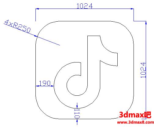 用CAD设计一个抖音logo
