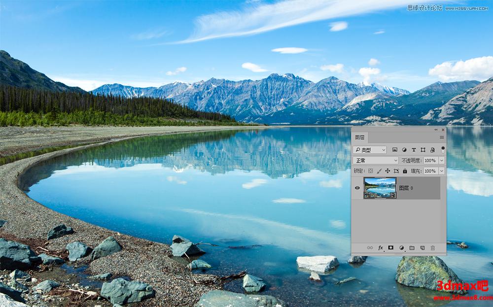 用PS滤镜制作水彩风格水墨风景图片