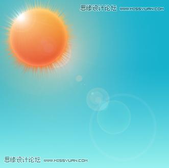 绘制矢量风格火辣太阳夏季图片的PS教程