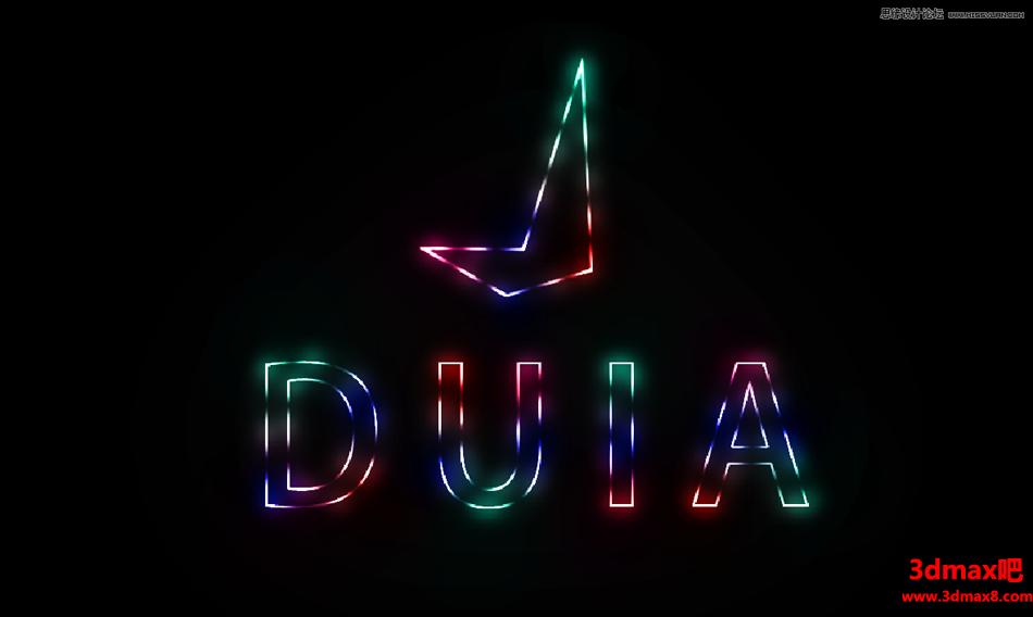 设计霓虹线条灯光文字图片的PS教程